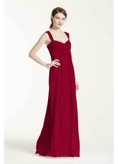 Long Crinkle Chiffon Dress with Twist Front Detail F15633