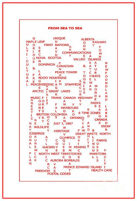 From Sea To Sea Canada Crosswords Red by Barbara Griffin - From Sea To Sea Canada Crosswords Red Digital Art - From Sea To Sea Canada Crosswords Red Fine Art Prints and Posters for Sale