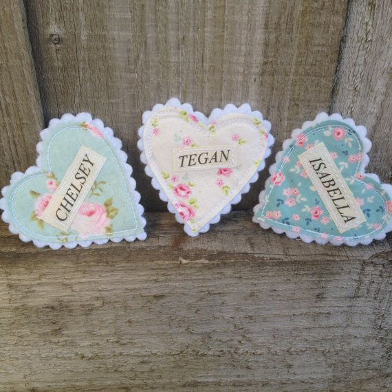 Fabric Heart Name Badges Perfect for Hen by shopwillynilly