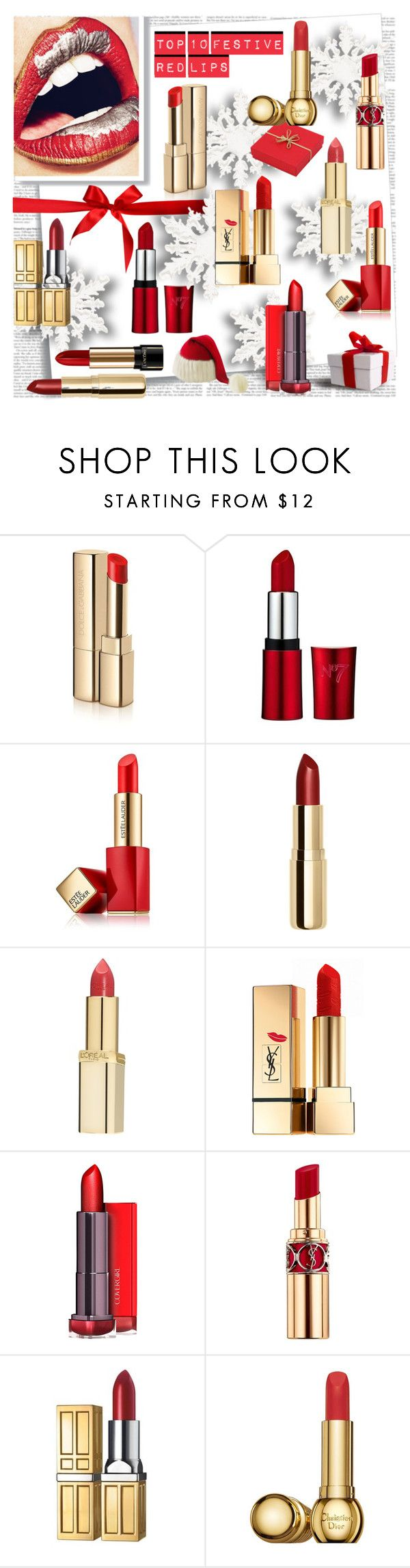 """Top 10 Festive Red Lipsticks"" by stylepersonal ❤ liked on Polyvore featuring beauty, Post-It, Dolce&Gabbana, Estée Lauder, H&M, L'Oréal Paris, Yves Saint Laurent, Elizabeth Arden, Christian Dior and Lancôme"