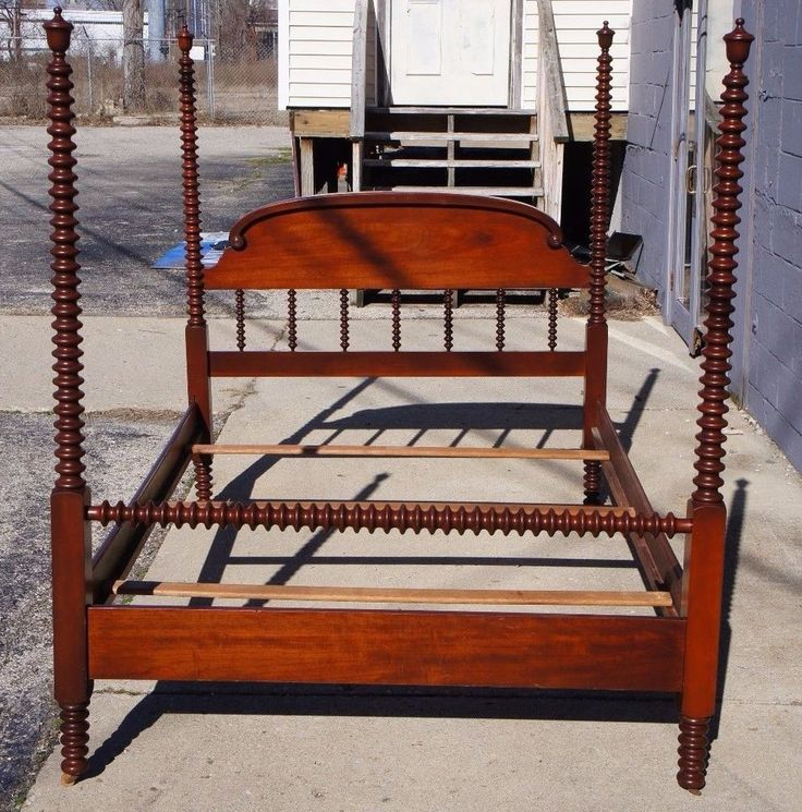 Antique Cherry Four Poster Full Size Canopy Bed Jenny Lind Federal Style  Double