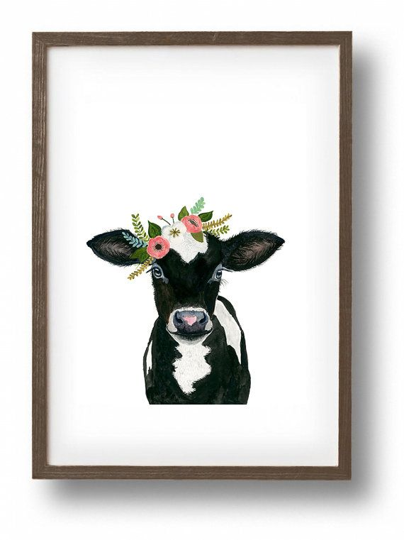 Watercolor cow calf baby farm animals cow painting by zuhalkanar