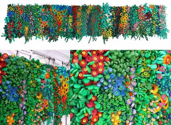 Cicia hartmann mur en bouchons de bouteilles recycling pinterest - Creation avec des bouchons ...