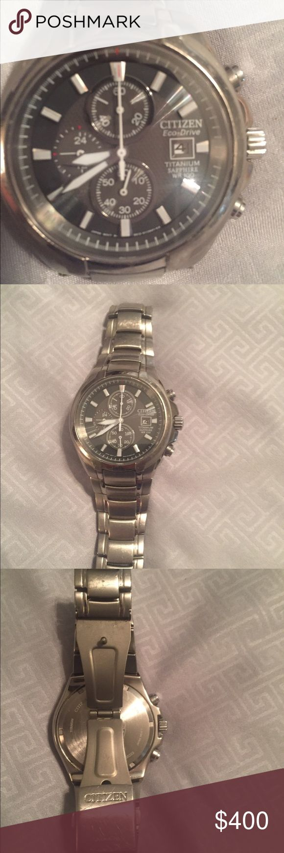 Men's Citizen Ecodrive Titanium Watch Men's Titanium Citizen Ecodrive Watch . No scratches on Crystal but light wear ( scratches) on band from wear. See photos. No box. Sold as is and price reflects the scratches on band which are due to normal wear. Citizen Accessories Watches