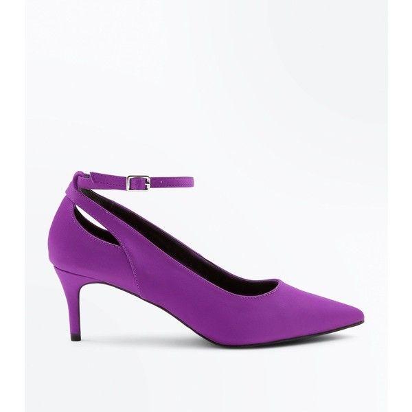 Purple Satin Cut Out Kitten Heel Shoes (€22) via Polyvore featuring shoes, pumps, purple, ankle strap pumps, purple pointed toe pumps, cut out pumps, satin ankle strap pumps and ankle strap shoes