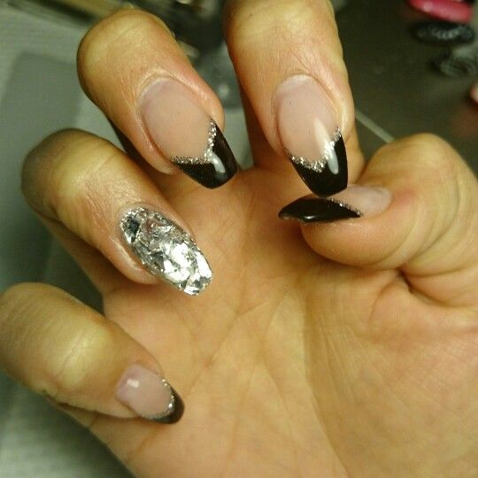 New years black silver gel nails