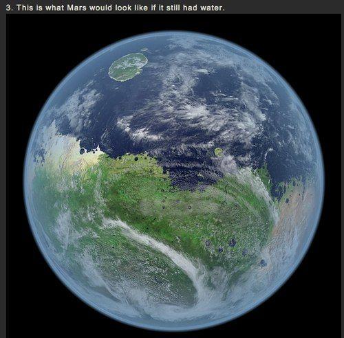 как выглядел бы сейчас Марс будь всё ещё на нём вода