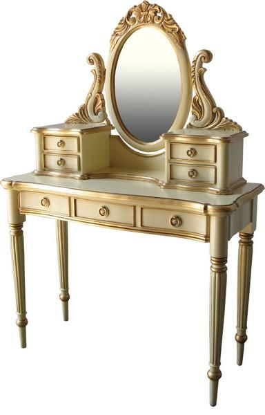 Victorian style Dressing Table with mirror by Lock Stock and Barrel Furniture. Handmade from solid mahogany using traditional methods and finished in antique cream with real gold leaf highlights. It arrives in 2 pieces, the table part which has 3 drawers and the mirror section which has 4 smaller drawers. The mirror section sits on top of the table so no assembly is required. The table top is nicely shaped and the dressing table has intricate hand carved detail throughout.