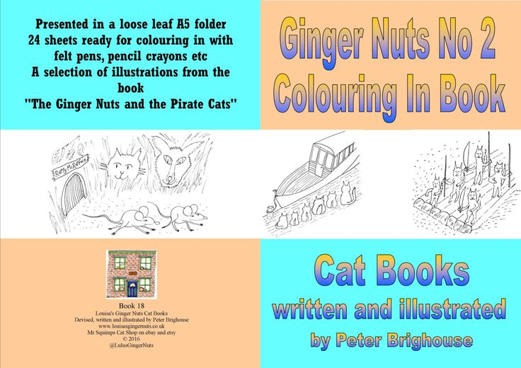 book: The Ginger Nuts No 2 Colouring In Book for those young at heart by Peter Brighouse; Louisa's Ginger Nuts Series Cat Books by MrSquimpsCatShop on Etsy