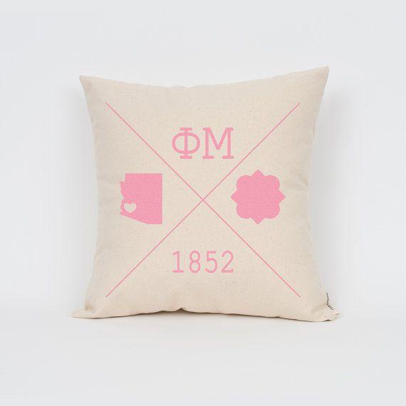 Phi Mu Icons Custom Pillow / ΦΜ / Sorority Pillow / by Sororitee