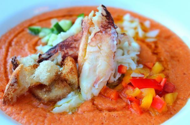White Gazpacho With Crab Salad Recipe — Dishmaps
