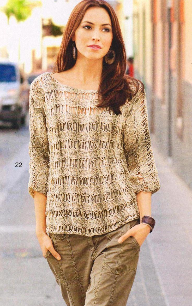 Пуловер со спущеннными петлями вязаный спицами