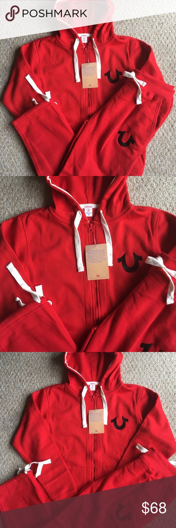 New Men's True Religion Zip Hoodie Sweatpants Set Brand new with tags.  Red zippered Hoodie with drawstring Sweatpants. True Religion Shirts Sweatshirts & Hoodies