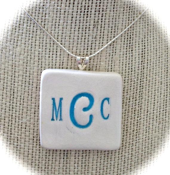 Custom Monogram ceramic pendant.  www.beachykeenpottery.com