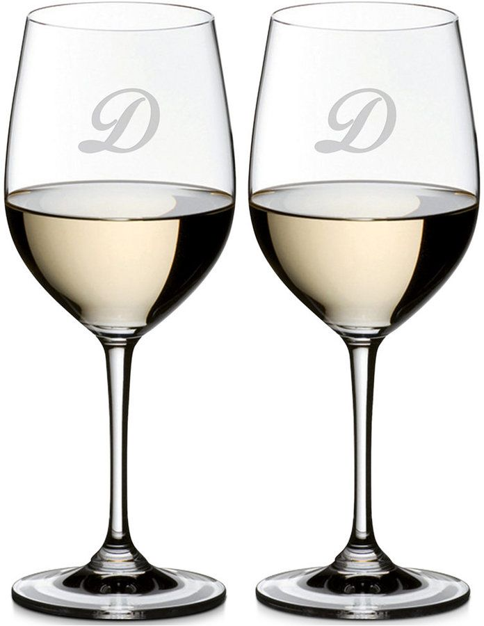 Riedel Vinum Monogram Collection 2-Pc. Script Letter Chardonnay/Chablis Wine Glasses