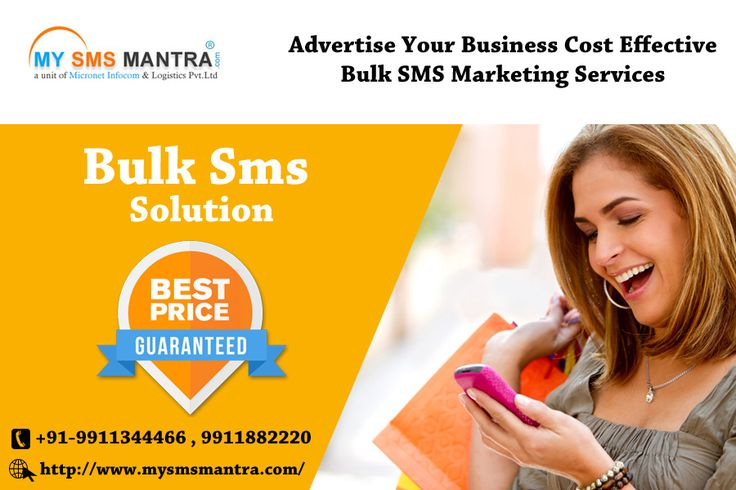 Engage your customers through promotional & transactional bulk SMS services provided by leading Bulk SMS provider Company in India. @ Know more details call +91-9911344466 , 9911882220 # http://www.mysmsmantra.com/
