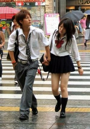 School uniforms individually worn are far from boring - Cool looking couple