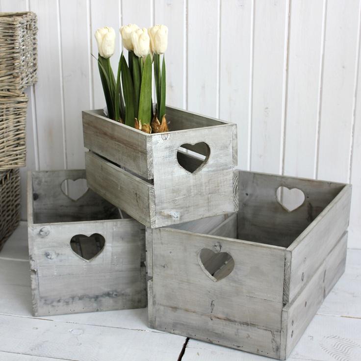 ACHICA | Biggie Best Wooden Crates, Antique White
