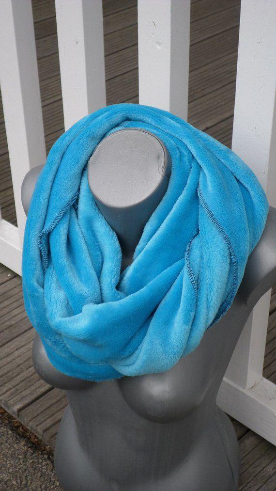 2d70a2b777f snood tour de cou écharpe tube cache cou pour femme doudou bleu turquoise nouvelle  collection automne hiver 2018 mode femme