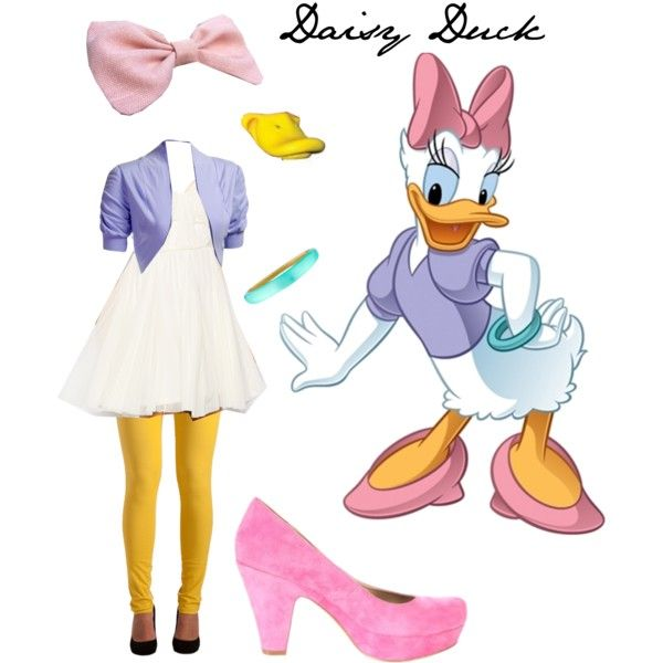 Daisy Duck costume for Rachel. Purple shirt, white tulle tutu, yellow tights, pink shoes, pink hair bow, and green bracelet!