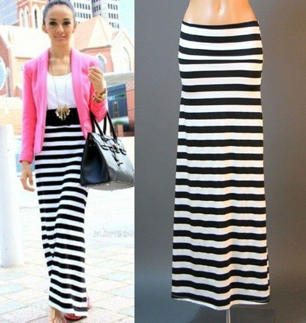 USA BLACK WHITE STRIPED URBAN STREET JERSEY KNIT FULL LENGTH MAXI SKIRT S M L XL