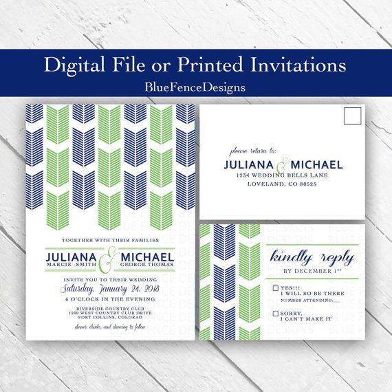 Geometric Wedding Invitation, Modern, Navy, Green, Arrows, Simple, Elegant, engagement, reception, birthday, RSVP, vow renewal, bridal