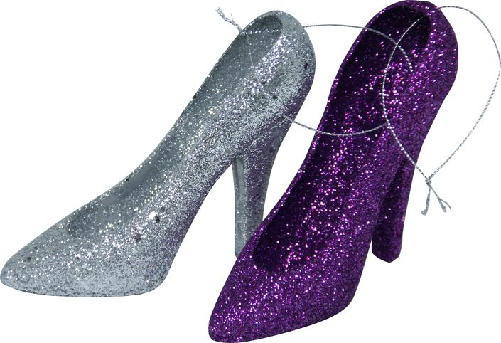 Glitter, sparkle and shine. These colorful Stiletto ornaments will instantly glam up your tree.