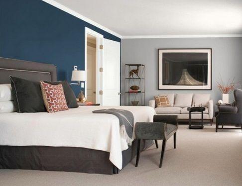 синие стены в спальне