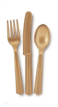 Parti Evőeszköz Válogatás Műanyag Arany- 18 Db-os