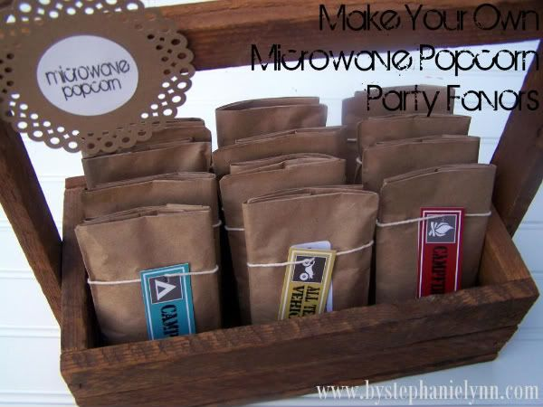 make your own microwave popcorn party favors #diy #popcorn #party_favor