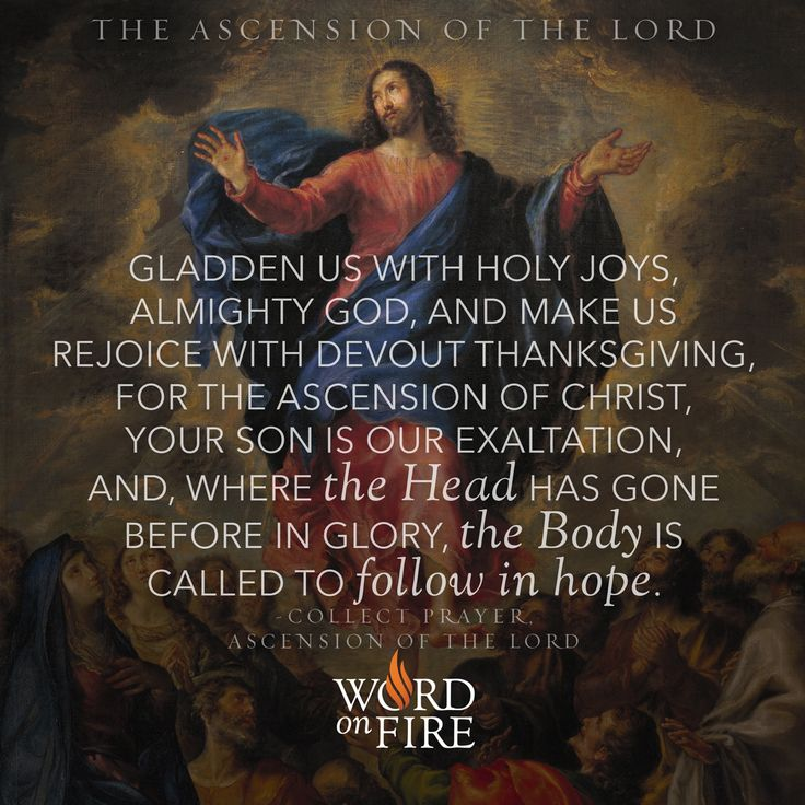 """THE ASCENSION OF THE LORD - """"Gladden us with holy joys, Almighty God, and make us rejoice with devout thanksgiving, for the ascension of Christ, your Son is our exaltation, and, where the Head has gone before in glory, the Body is called to follow in hope."""" -Collect Prayer, Ascension of the Lord"""