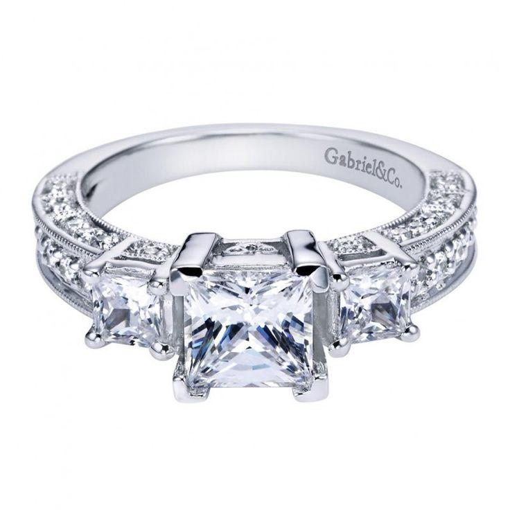 1.50cttw 3-stone plus diamond engagement ring with pave diamond set basket heads