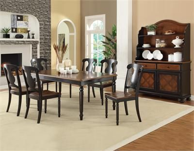 "78"" Morro Bay Tobacco Black Dining Table Set #formaldining"