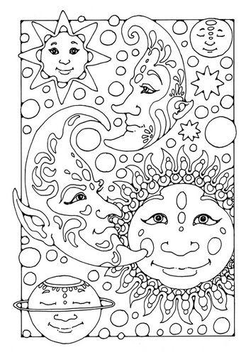 kleurplaat zon maan en sterren coloring pages