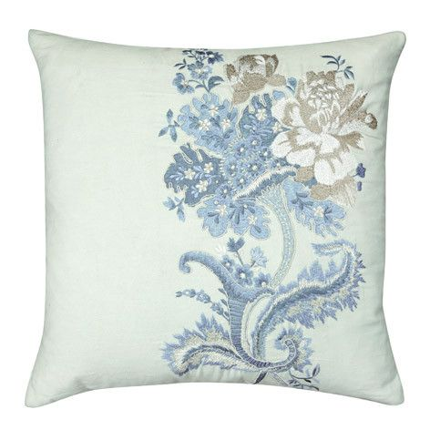 Rose Hill Embroidered Duck Egg Cushion