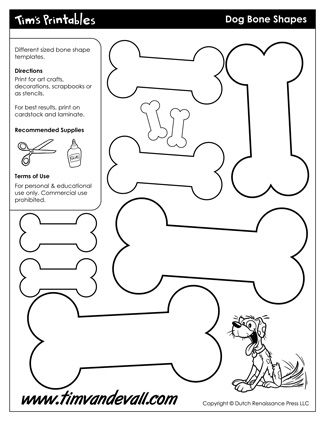 Dog Bone Shapes, free for personal arts and crafts projects. For high resolution JPEG (1200x 927) please visit: http://timvandevall.com/shape-templates/dog-bone-templates/