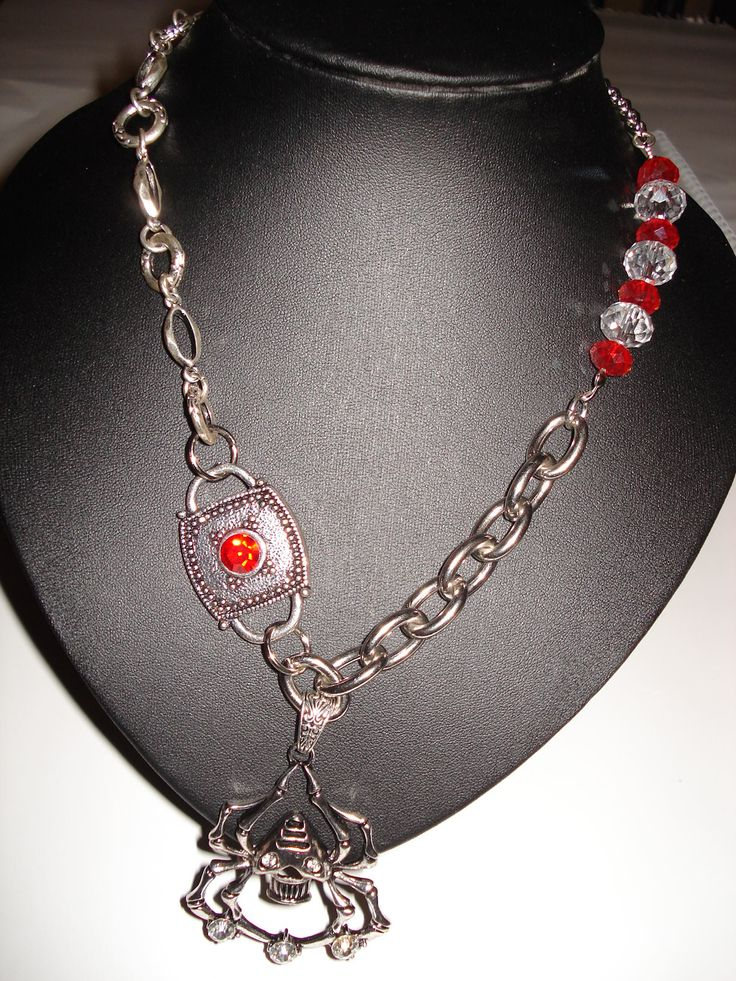 Spider Pendant with Crystals Choker