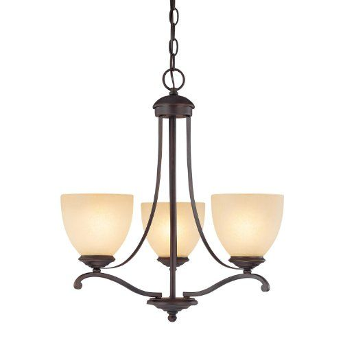 Off Chapman Burnished Bronze Three Light Chandelier With Tumbleweed Glass By Capital Lighting Fixture Company