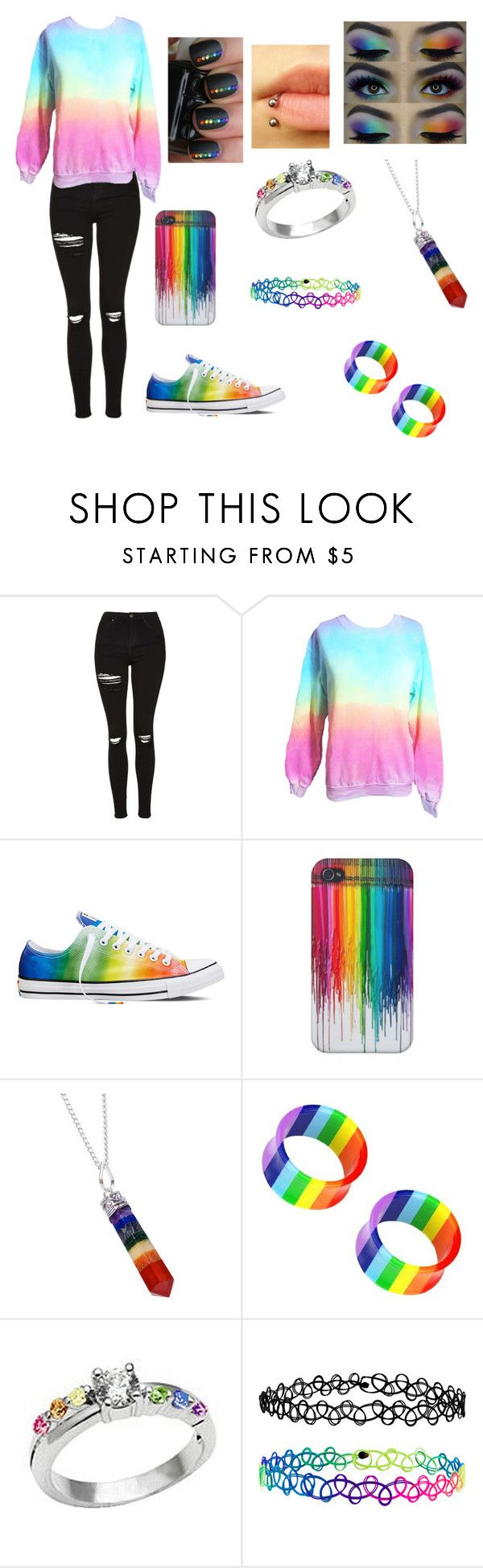 """Untitled #84"" by atomicriley ❤ liked on Polyvore featuring Topshop, Converse, Rock 'N Rose and Accessorize"