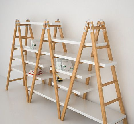 shelf. Maybe made from stepladders  boards for Molly's room?