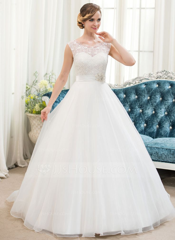 Amazing Ball Gown Scoop Neck Sweep Train Organza Satin Lace Wedding Dress With Beading Sequins JJsHouse