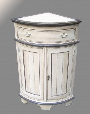 Meuble d angle bas peint blanc