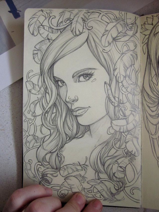 The next sketches from my moleskine. I was inspired by the Japanese/pretty girl theme I first did.. so tried another one, and I think, once I get a proper work area set up, I'd like to paint someth...