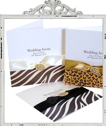 Animal print Wedding Invitations. Leopard print invitations, zebra print invitations £4.55