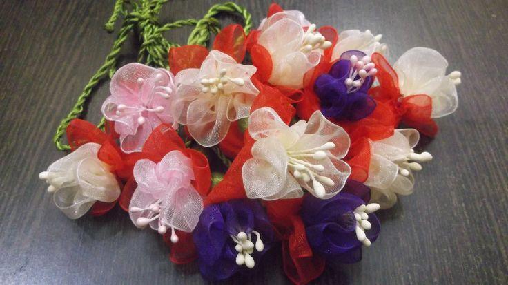 D.I.Y. Organza Fuchsia Flower Slings / Charms Tutorial