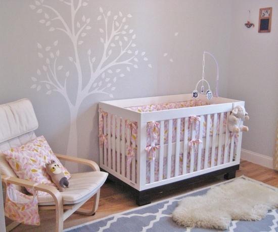 BabyLetto Modo Crib shown in white, Pretty in Pink