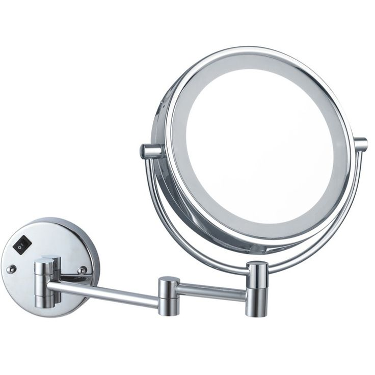 Double faced round wall mounted makeup mirror with LED light. Mirror features 3x magnification and is made of brass with 2 available finishes: chrome or satin nickel.