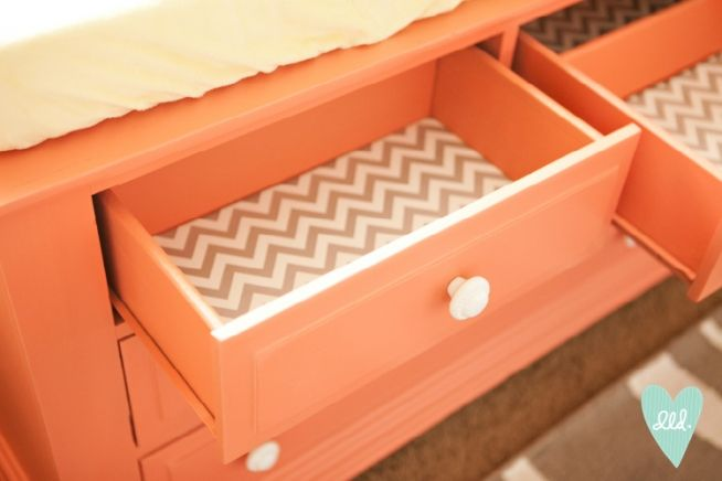 Furniture DIY drawers-- chevron wrapping paper to line them! DesignLovesDetail.com has the best ideas!