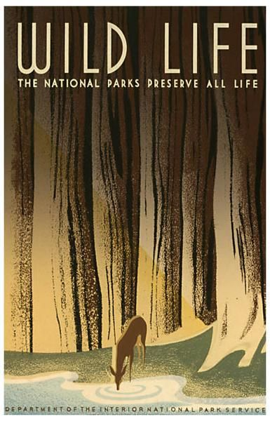 A great National ParksServiceposter celebrating America's wild life! From FDR's Works Progress Administration (WPA).Ships fast. 11x17 inches. Check out the r