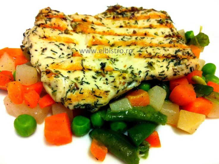 Herb chicken with sauteed vegetables
